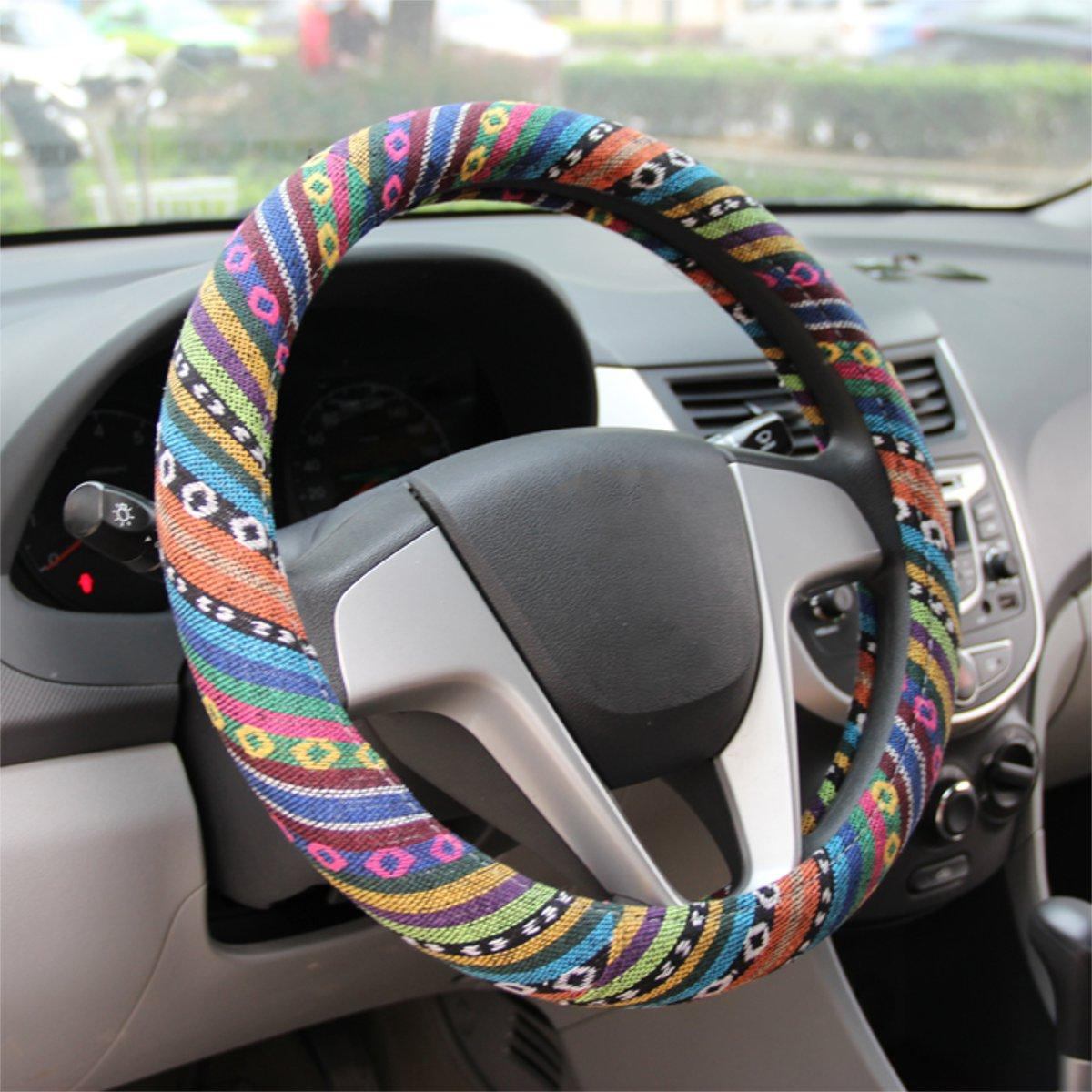 "15 ""/ 38cm Universal Car Steel Ring Hjulskydd Natural Fiber Wrap Colorful Non-slip"