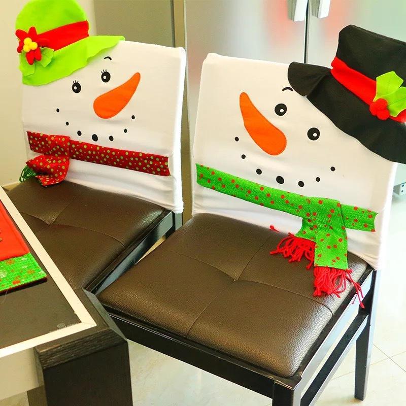 재미 있은 크리스마스 눈사람의 자 커버 크리스마스 홈 파티 장식 저녁 테이블의 자 검은 커버