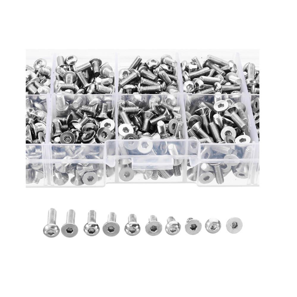 400pcs M3 A2 Stainless Steel Button & Flat Socket Head Screw Assortment Kit