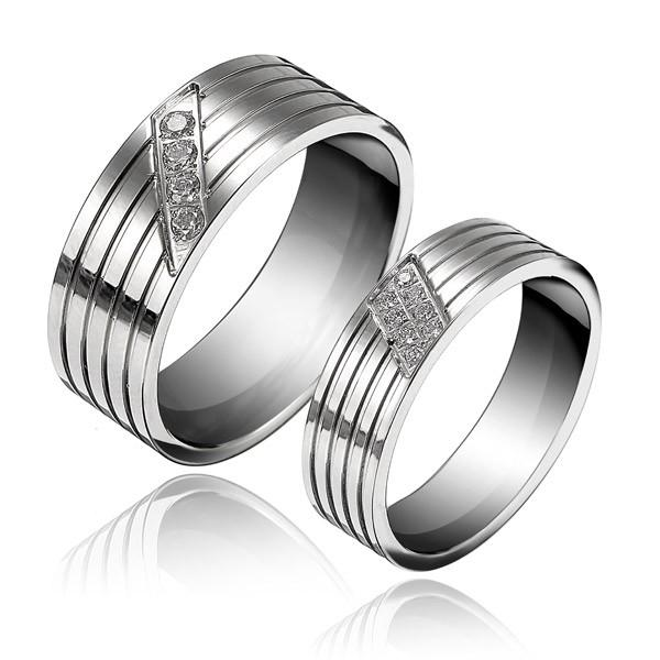 1PC Titanium Steel Cubic Zirconia Inlaid Couple Finger Ring For Women Men