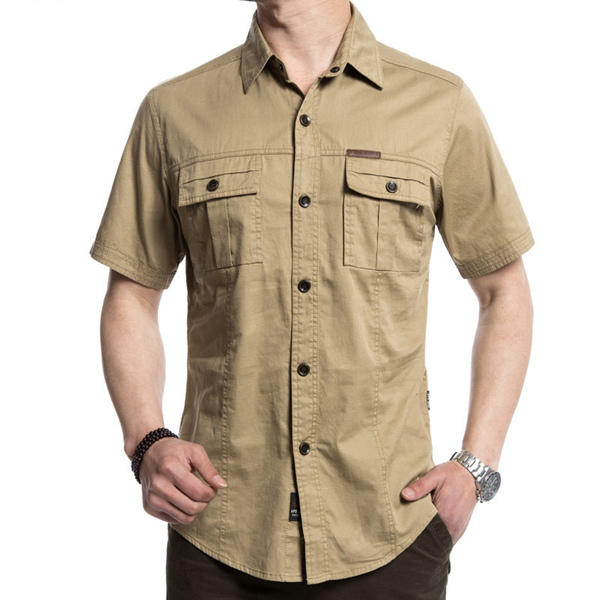 d05de3ee7cde38 Outdoor Military Double Pockets Solid Color Casual Short Sleeve Men Cotton  Shirt COD