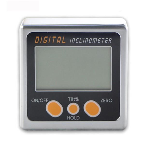 Inclinómetro digital 0-360 ° Mini biselado Caja transportador de ángulo de nivel herramienta con base magnética