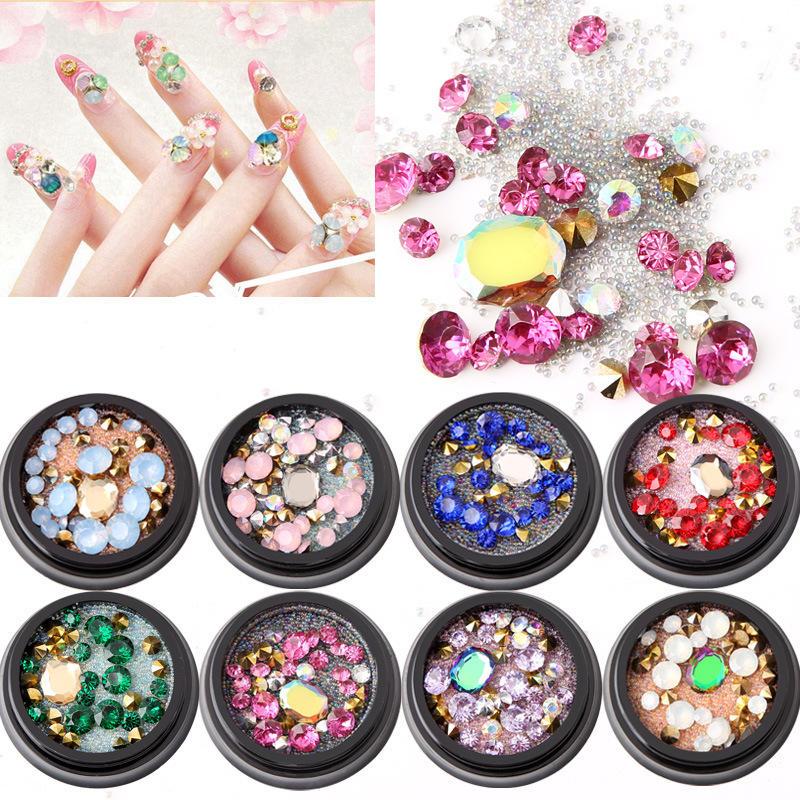 1 bottiglia di diamanti Unghie Adesivo Colorful perline di cristallo Chiodo Decorazioni d'arte