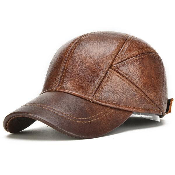 d1fafaaeb3c38b Mens Winter Warm Genuine Leather Baseball Cap Earflap Ear Muffs Windproof  Outdoor Trucker Hats COD