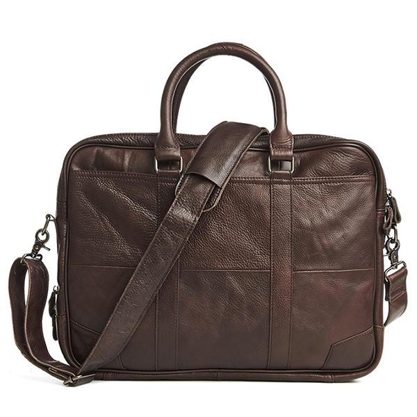 جلد طبيعي الأعمال حقيبة كمبيوتر محمول حقيبة كروسبودي