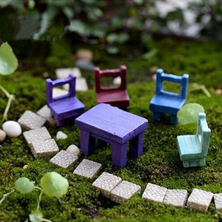 Mini Harz Hocker, Stuhl, Schreibtisch Figurine Micro Landschaft Ornament Gartendekoration DIY Bonsai Craft