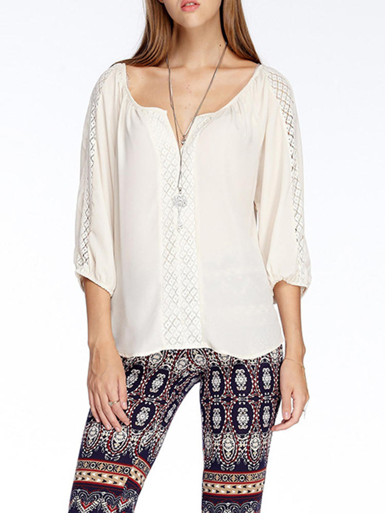 Casual Women Hollow 3/4 Sleeve V-Neck Blouse