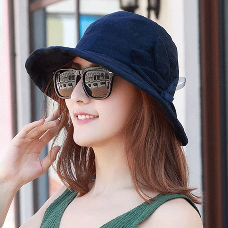 da020100af4231 Women Cotton And Linen Sun Protection Bucket Hat Outdoor Breathable Fishing  Hat COD