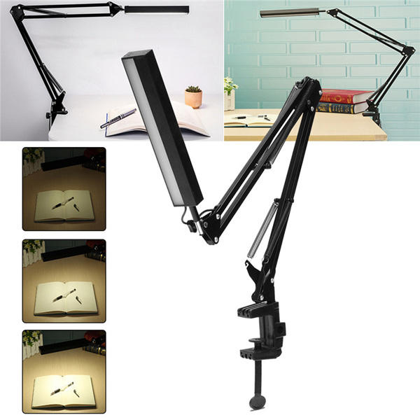 5W Long Arm Clip Touch Dimmable LED Table Desk Lamp USB Reading Light Home Decoration