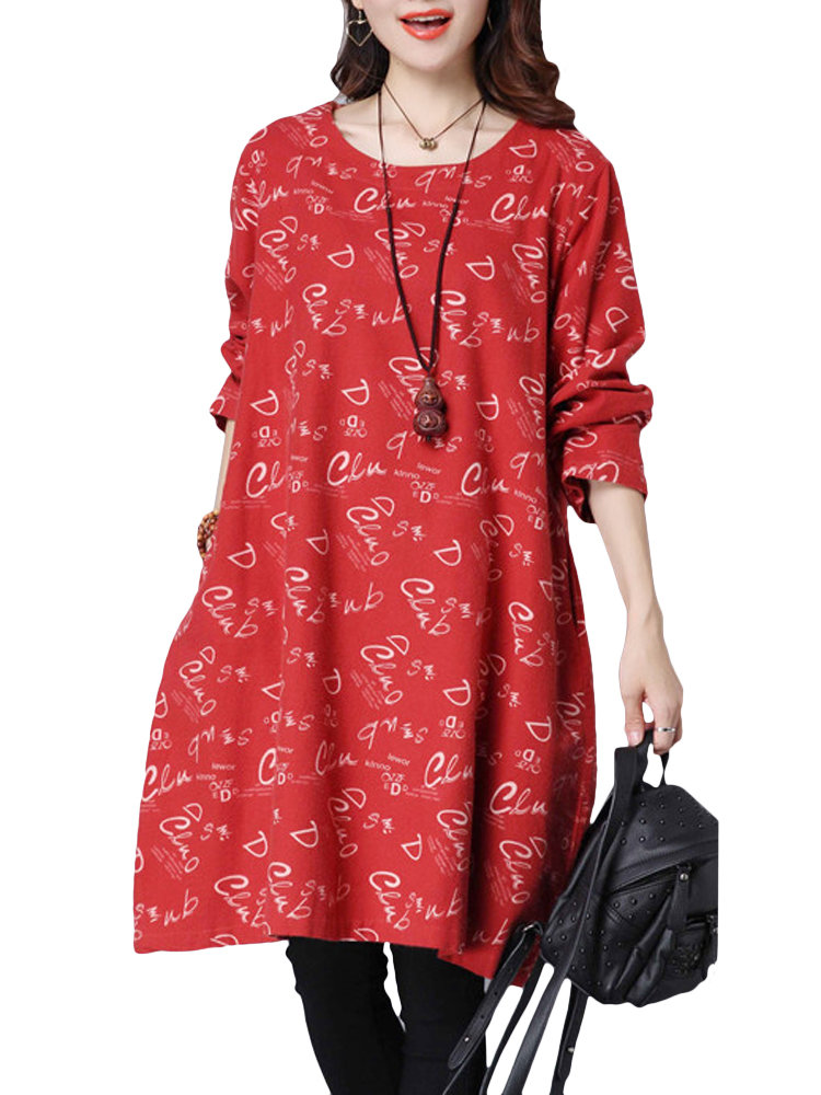 Vintage Women Printed Long Sleeve Loose Cotton Dress