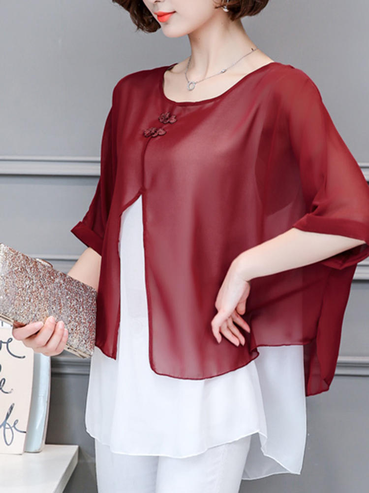 Chiffon Batwing Sleeve Tvåfärgad Fake Two Blouse