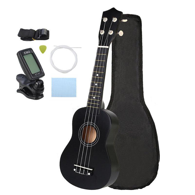 21 Inch Economic Soprano Ukulele Uke Musical Instrument With Gig bag Strings Tuner Black COD