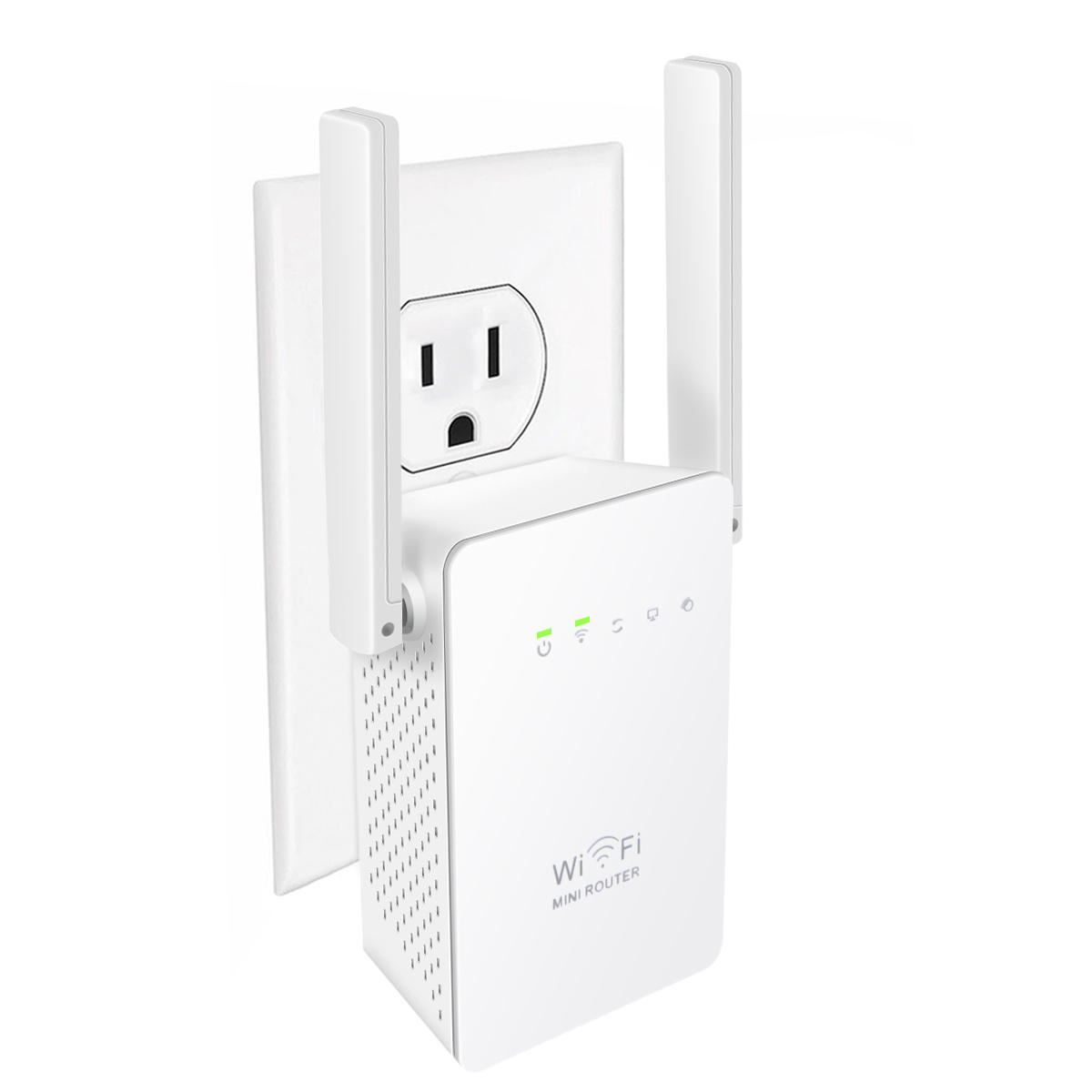Meco 300Mbps Wireless WiFi Repeater Network Router Extender-White