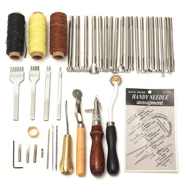 48 Piezas de cuero artesanal herramientas Kit de costura a mano costura Punch talla de trabajo Saddle