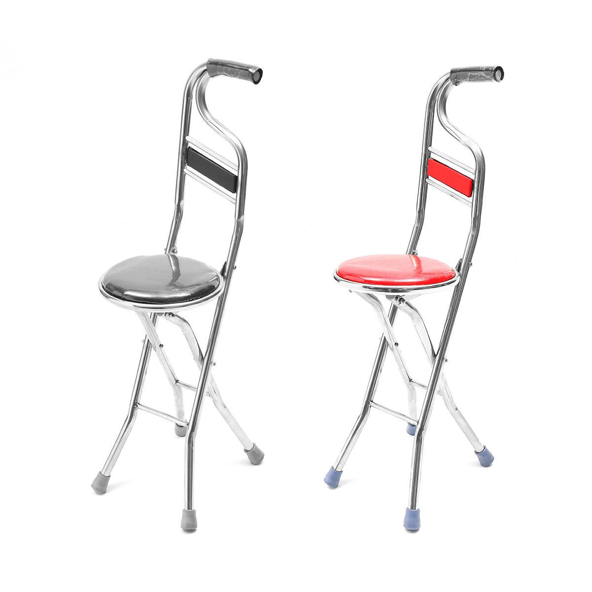 Stainless Steel Portable Folding Walking Stick Chair Seat Stool Travel Cane  sc 1 st  Banggood & Stainless Steel Portable Folding Walking Stick Chair Seat Stool ...