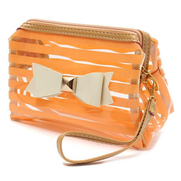 Tarja transparente cosméticos saco de viagem pvc gravata borboleta compõem caso de organizador