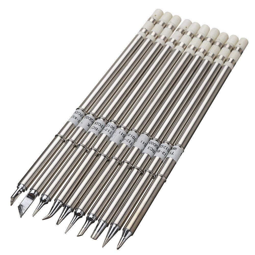 10pcs T12 Soldering Iron Tips Set For Hakko Fx951 Fx952 Sale Basic