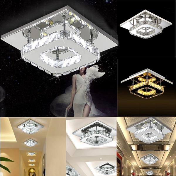 Modern Square Crystal Led Ceiling Light Fixture Pendant Lamp Chandelier Home Decor