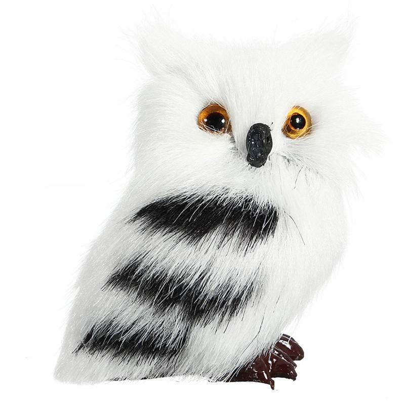 10 PCS Owl White Black Furry Christmas Ornamento Decoración Juguetes Adorno Simulación