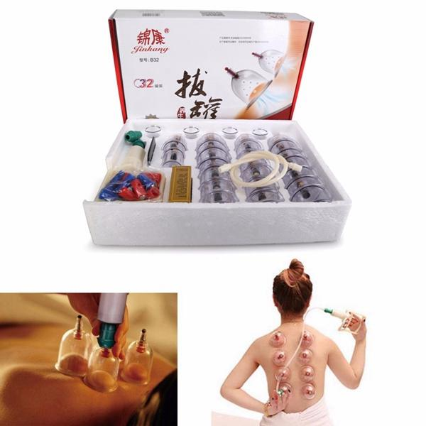 Traditional Chinese 32 Cups Vacuum Suction Cupping Kit Magnet Massage Slimming Cup Set