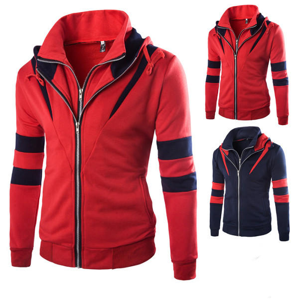 Mens Casual Double Zipper Thick Hoodies Fashion Spell Color Autumn Winter Sweatshirt