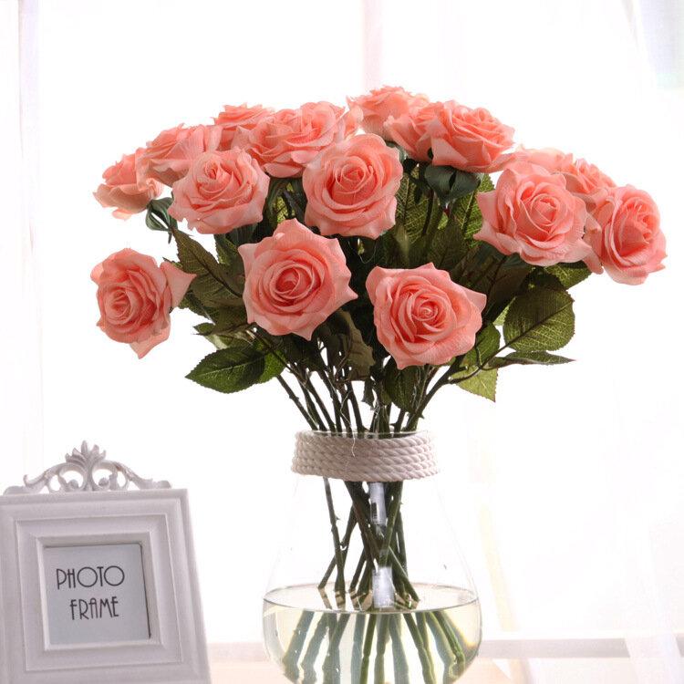 ดอกกุหลาบดอกไม้ประดิษฐ์สาขาเดียวดอกไม้ประดิษฐ์สำหรับตกแต่งบ้าน งานแต่งงาน โรสดอกกุหลาบ