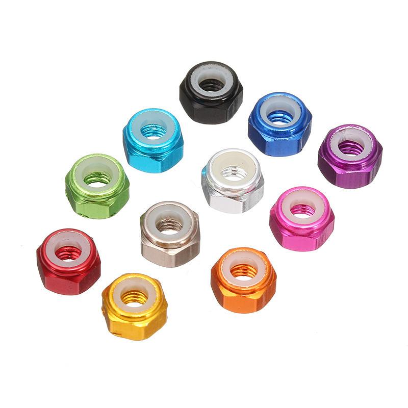 Suleve™ M3AN1 10Pcs M3 Nut Self-locking Nylon Lock Hex Nut Aluminum Alloy Multicolor