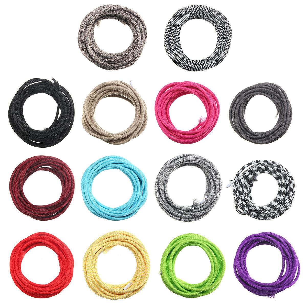 5м 2 шнура цвет марочные твист плетеный ткани свет кабель электрический провод