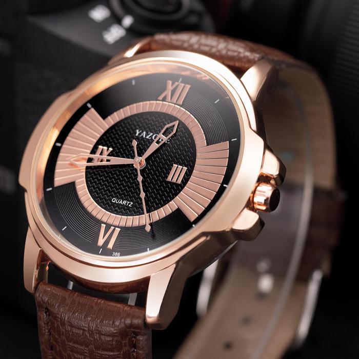 YAZOLE 386 Moda hombres reloj de cuarzo Impermeable Correa de cuero reloj de pulsera