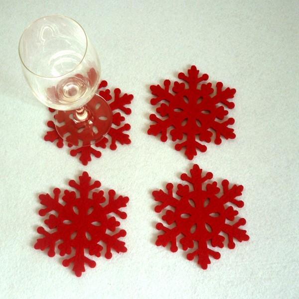 4 copas de la copa del copo de nieve de la Navidad de las PC embalan la decoración de la tabla del hogar de la Navidad del sostenedor del amortiguador de la estera