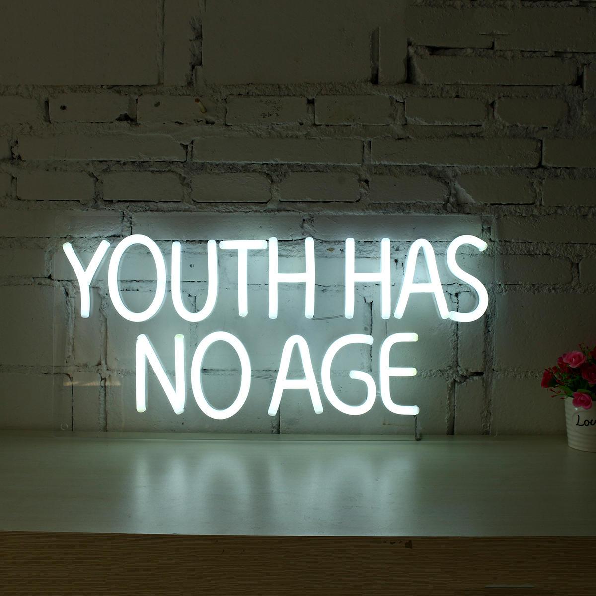 Youth n'a pas d'âge signe au néon LED tube visuel oeuvre bar pub club décoration murale guirlande lumineuse
