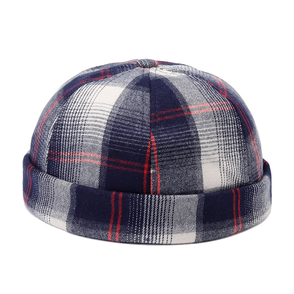 bf72a444aded8 Mens Womens Cotton Adjustable Plaid French Brimless Hats Fashion Crimped  Skullcap Sailor Cap - Red COD
