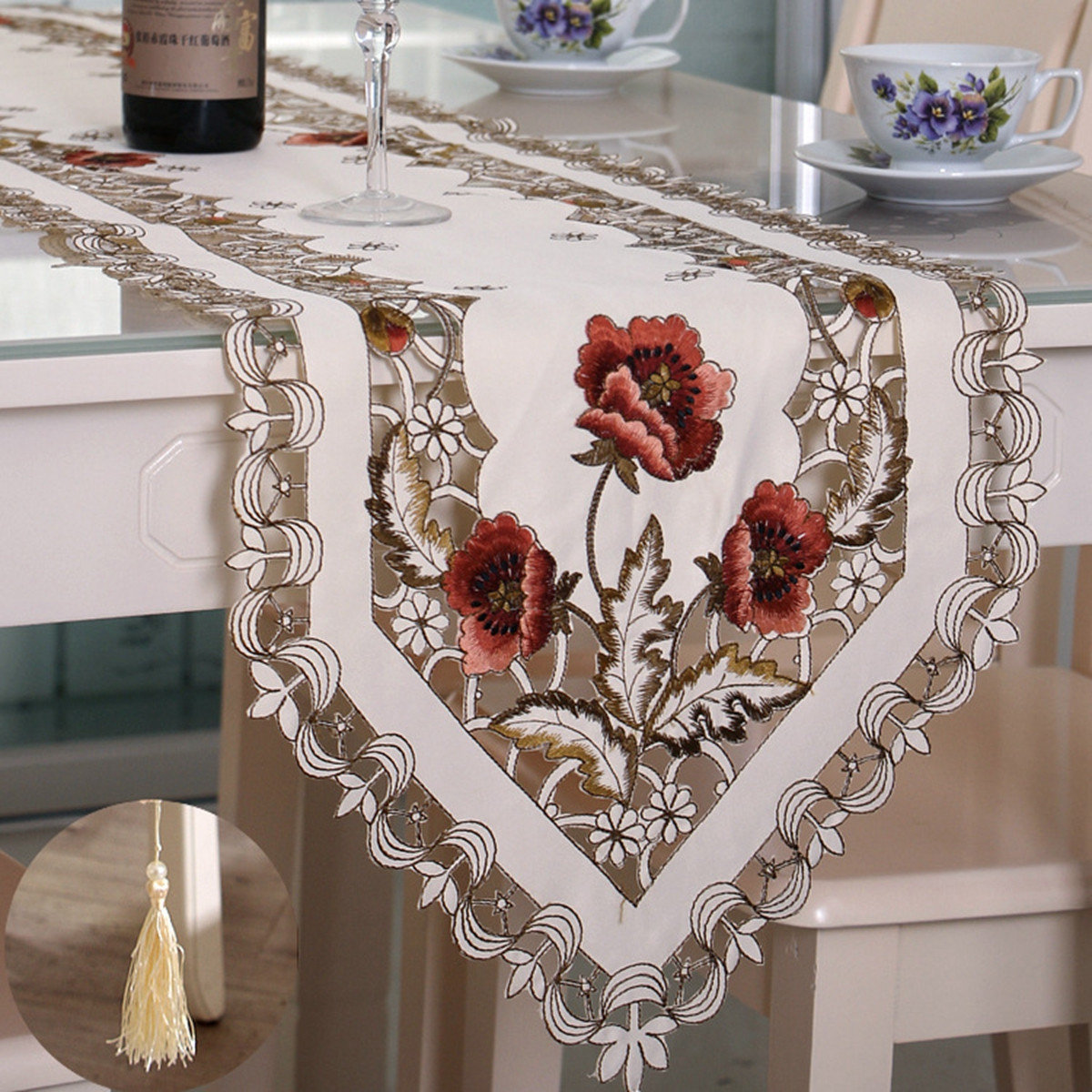 Pastoral Flower Table Runner Tablecloth Flag With Tassel Home Wedding Party Decor COD