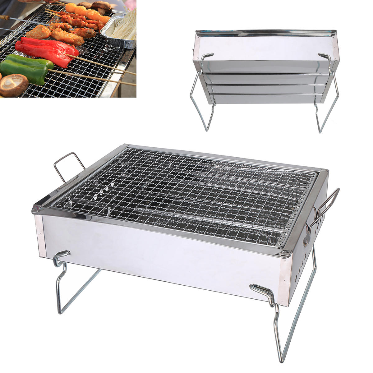 4a22903e0f0 outdoor camping portable folding bbq barbecue grill stainless steel charcoal  burner cooking stove Sale - Banggood.com sold out