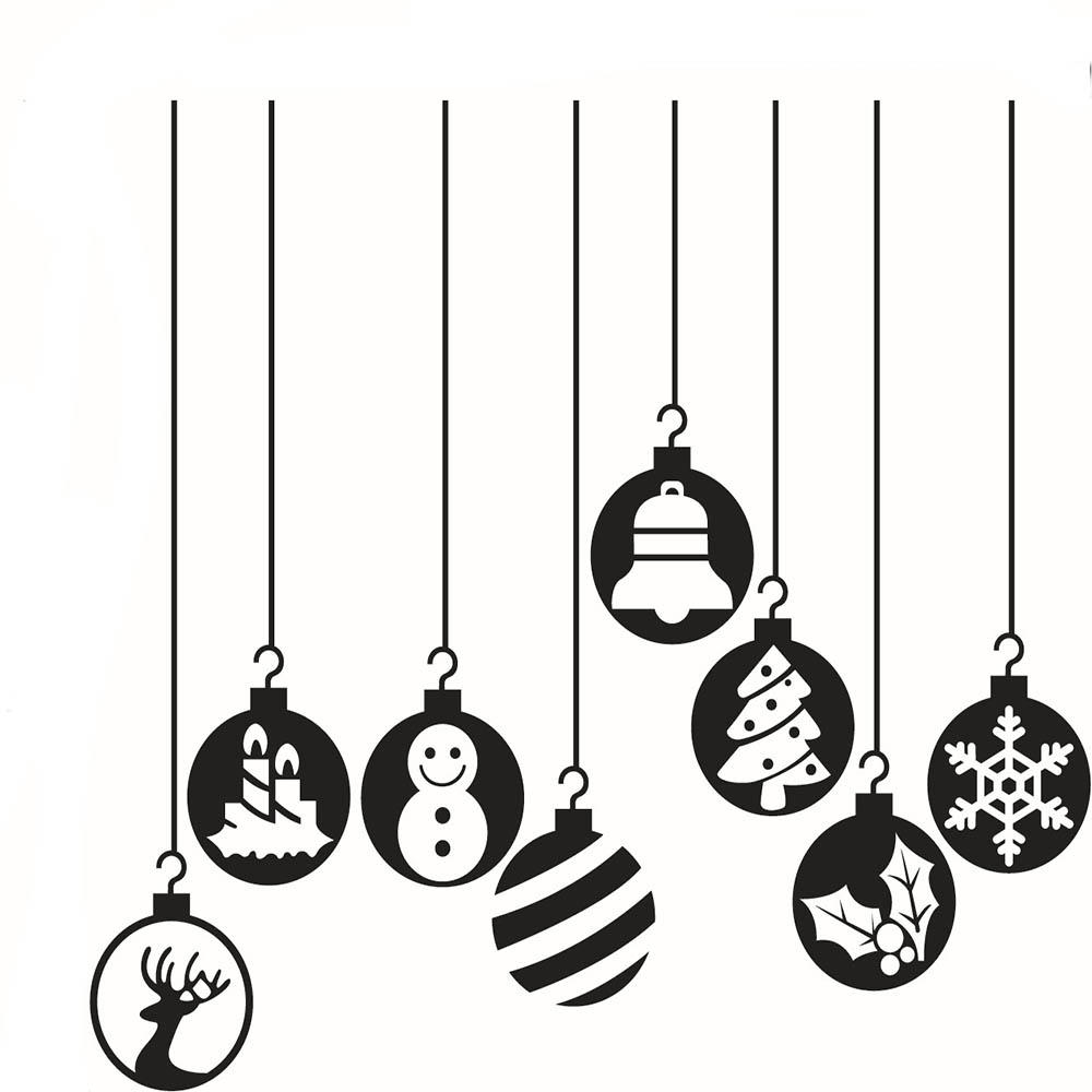 Merry Christmas Decorative Lanterns Removable Waterproof Vinyl Wall Decor  Stickers Christmas Decorations For Home Living Room