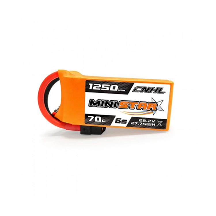 CNHL MiniStar 1250mAh 22.2V 6S 70C Lipo Battery XT60 Plug for RC Drone FPV Racing