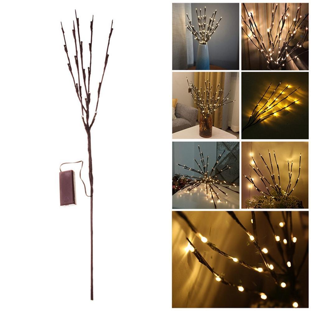 Batería Powered 20 LED Rama de árbol Lámpara Decoración de jardín de fiesta de Navidad Luz de cuerda de hadas
