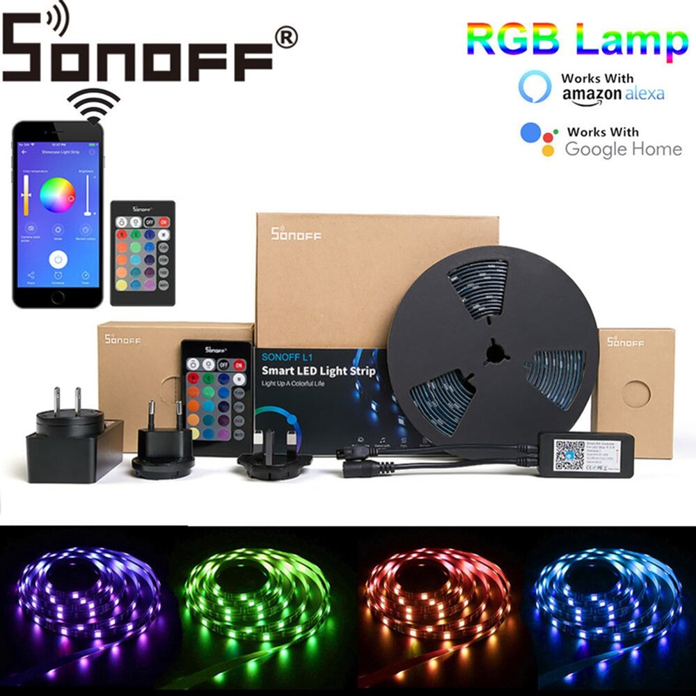 SONOFF L1 Dimmable IP65 2M 5M Smart WiFi RGB LED Strip Light Kit Work With Amazon Alexa Google Home Christmas Decorations Clearance Christmas Lights