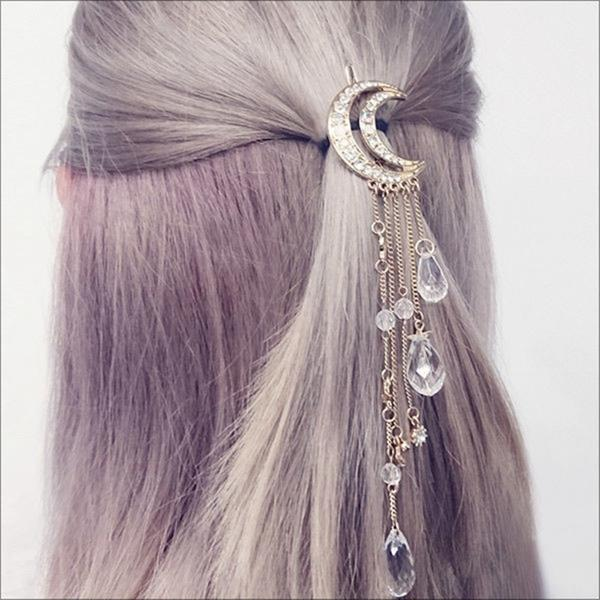 Retro Diamond Tassels Crescent Hairpin Stars Pendant Hair Accessories for Women