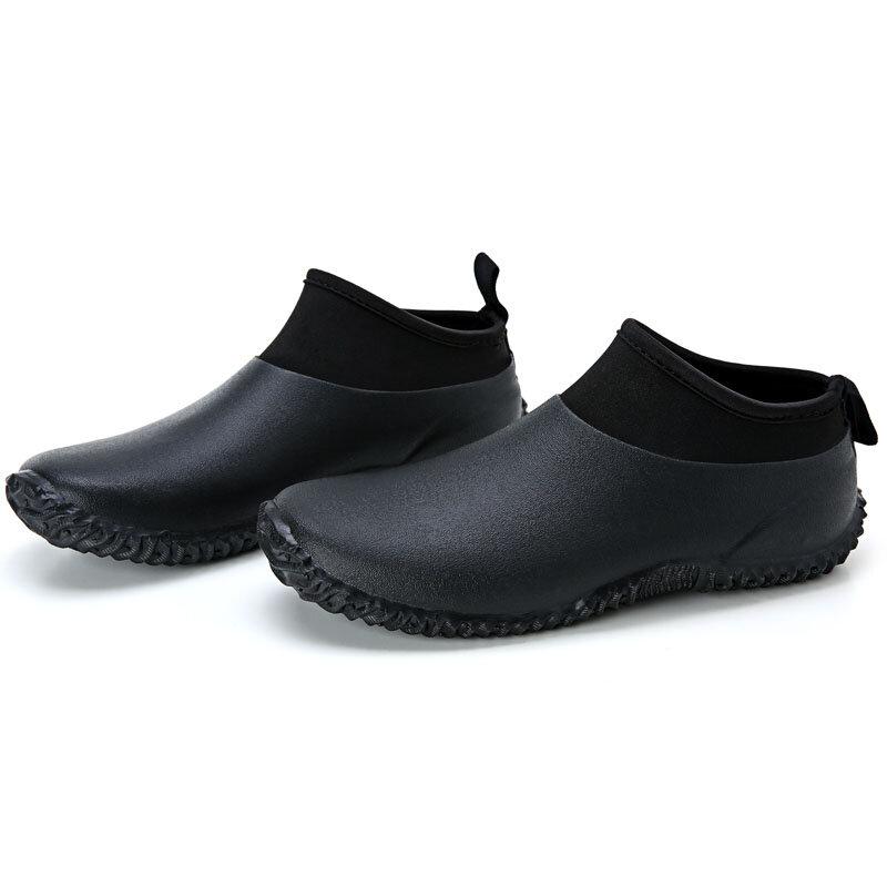 Hellozebra Мужчины Женское Дождь Ботинки Досуг Крупный рогатый скот Цветущая вода Низкий Короткие Авто Вымойте Водонепроницаемы обувь