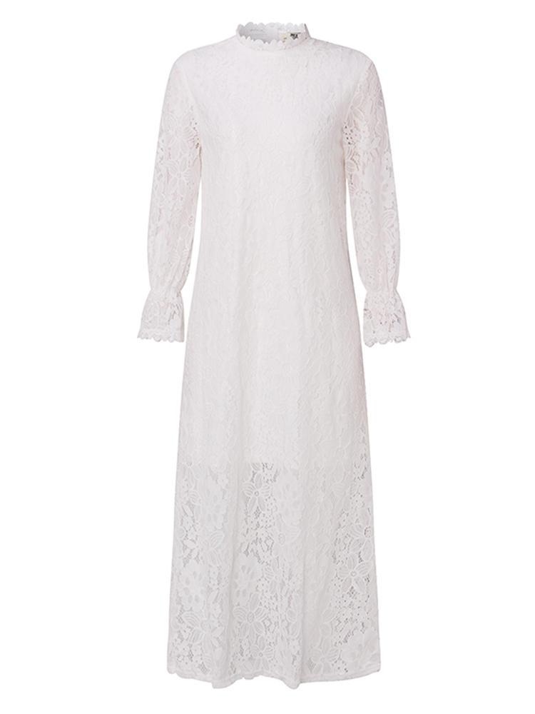 S - 5XL 섹시한 여자 화이트 레이스 긴 맥시 드레스