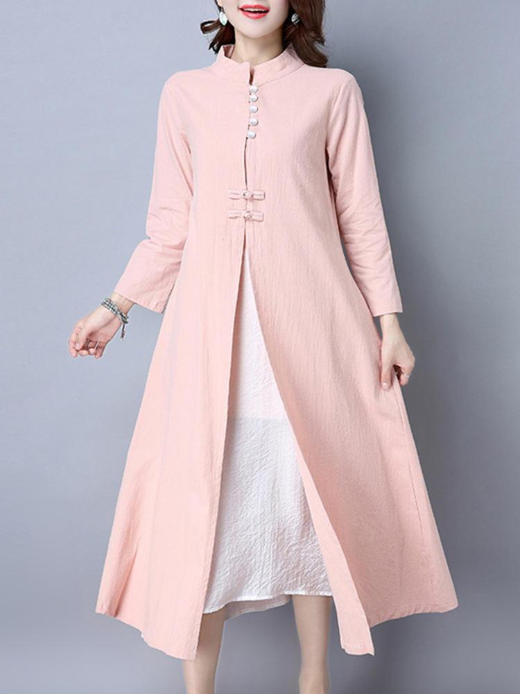 65ee1489fd4331 Gracila 2-delig pak Dames Vintage staand Kraag Effen knopen vest en  mouwloze jurk