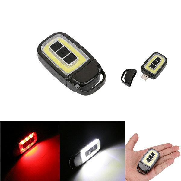 ミニポータブルUSB充電式COB LED懐中電灯キーチェーントーチワークライト屋外キャンプランプ
