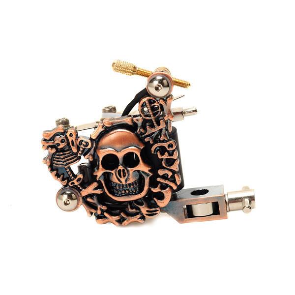 OCOOCOO K100 Low Noise Skull Metal Tattoo Machine Gun 10 Warps Coils 7000-9000 R/Minute Purple Bronze