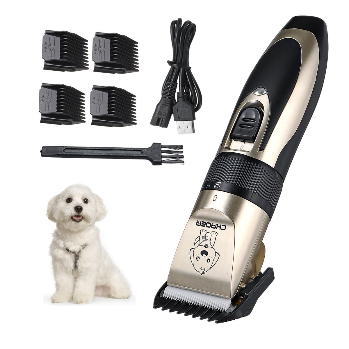 [USA DIRECT] Pet ricaricabile USB Capelli Clipper Cat Dog Trimmer Kit Pet Grooming Forbice Accessori per animali portatili