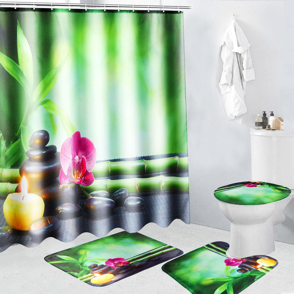 4Pcs 180x180cm Bamboo Pebbles Bathroom Shower Curtain With Hooks Toliet Cover Mat COD