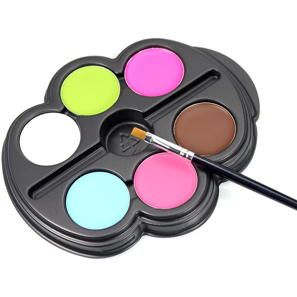 Popfeel 6 colors Halloween Facial Art Makeup Palette Brush Non-toxic Kids Body Paint Oil Tattoo