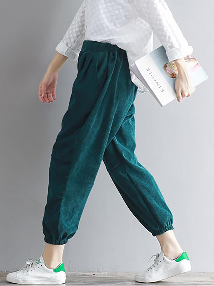กางเกงลำลอง Corduroy Elastic สูง Lantern กางเกง