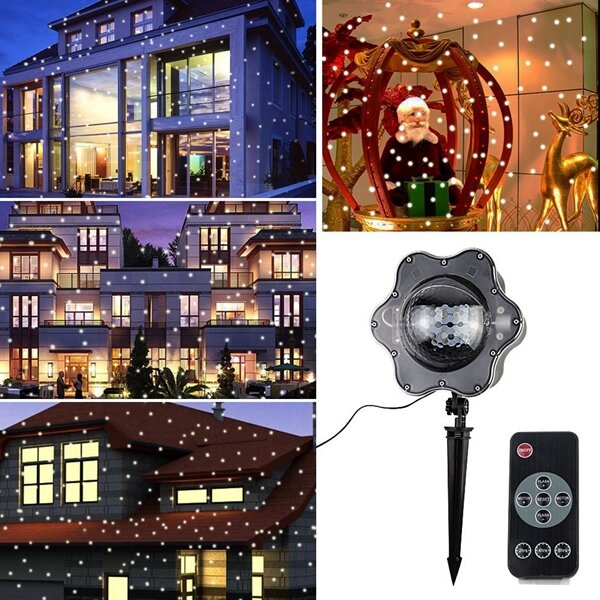 arilux 4w led warm white white snowfall projector light remote rotating snowflake christmas decor