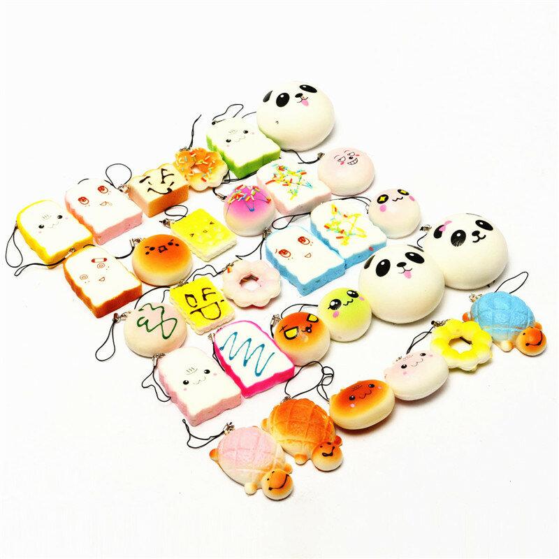 Banggood Kawaii 10Pcs เบญจรงค์สุ่ม Charm นุ่ม Panda / ขนมปัง / เค้ก / ขนมปังโทรศัพท์ Straps ของเล่นตกแต่ง